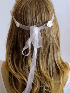 Bridal Flowers Headband ivory Hairband Wedding Head by selenayy