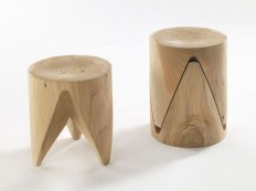 Low stackable solid wood stool ZIG + ZAG J+i Collection by Riva 1920 | design Sakura Adachi | Unique furniture | Pinterest