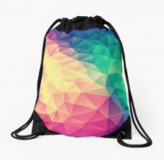 """Abstract Polygon Multi Color Cubism Triangle Design"" Drawstring Bags by badbugs 