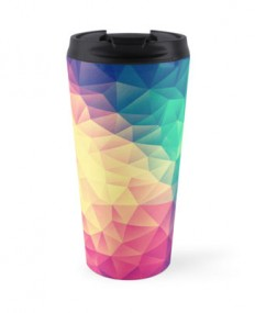 """Abstract Polygon Multi Color Cubism Triangle Design"" Travel Mugs by badbugs 