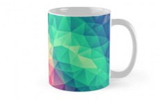 """Abstract Polygon Multi Color Cubism Triangle Design"" Mugs by badbugs 