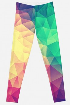 """Abstract Polygon Multi Color Cubism Triangle Design"" Leggings by badbugs 