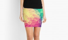 """Abstract Polygon Multi Color Cubism Triangle Design"" Pencil Skirts by badbugs 
