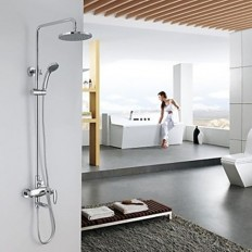 Contemporary Chrome Tub Shower Faucet with 8 inch Shower Head and Hand Shower - FaucetSuperDeal.com | Shower Faucets | Pinterest