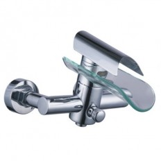Waterfall Tub Faucet with Glass Spout (Wall Mount) – FaucetSuperDeal.com | Shower Faucets | Pinterest