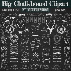 "Chalkboard Clipart: ""Big Chalkboard Clipart"" contains chalkboard arrows, banners, crowns, deer and other chalk elements - 30%"