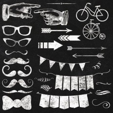Clipart - Chalkboard Elements - Instant Download - 54 Transparent PNG Files plus EPS vector file - Hipster Mustache Arrow Banner