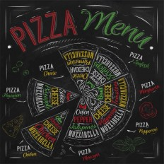 "Wall Art- Kitchen Chalkboard Print -Italy-Chalkboard Pizza Subway Art Typography- Pizza Menu- Pizza Recipes- Print 12 x 12"" No.196"