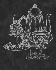 "Wall Art- Kitchen Chalkboard Print -Chalkboard Typography-Tea & Desserts Print 8 x 10"" No.91"