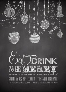 Printable Chalkboard Christmas Invitations with Christmas Ornaments - Eat Drink and be Merry