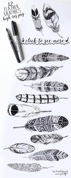Boho rustic feathers