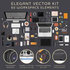 Freebie: A Workspace Illustrations Kit (AI, PNG, PSD, EPS, SVG)