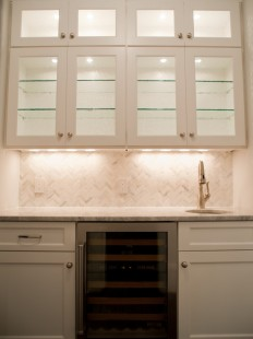 Marble Herringbone Tile Backsplash - Transitional - kitchen - Michelle Winick Design