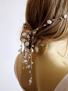 wedding hairband pearl and rose headband Bridal by selenayy