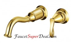 Wall Mount Golden Finish Single Handle Brass Bathroom Sink Faucet | Bathroom Faucets | Pinterest