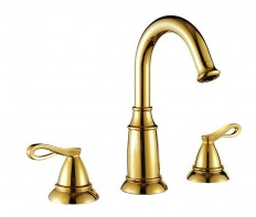 Golden Polished Double Handle Cold and Hot Brass Bathroom Basin Faucet | Bathroom Faucets | Pinterest