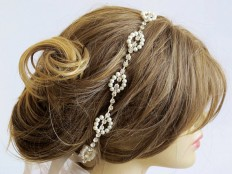 Rhinestone and Pearl headband Wedding bridal headband by selenayy