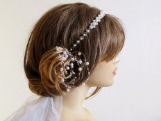 Wedding bridal headband ivory Pearl hairband wedddings by selenayy