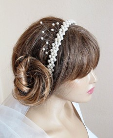 wedding headband hairband ivory pearl Bridal Headpiece by selenayy