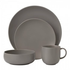 Royal Doulton Mode Stone 4 Person Dinner Set | With Exclusive Chip Resistant Warranty