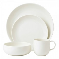 Royal Doulton Mode White 4 Person Dinner Set | With Exclusive Chip Resistant Warranty