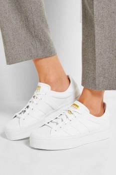 adidas Originals|Superstar Rize faux leather-trimmed canvas sneakers|NET-A-PORTER.COM