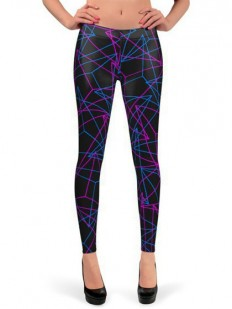 Abstract Geometric 3D Triangle Pattern in Blue / Pink Queen West Leggings by Philipp Rietz | Nuvango