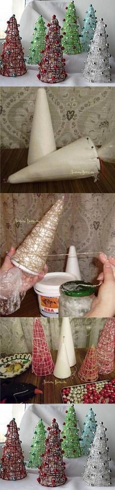 Enfeites natalinos com cones de lã | DIY, Crafts and More. | Pinterest