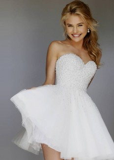 2015 Short Strapless Lovely Ivory Pearl Beaded Bodice Party Dress [Sherri Hill 11312 Ivory] - $198.00 : Hot Trends Homecoming Dresses,Prom Dress,Wedding Dress,Bridesmaid Dresses,Prom Shoes For Prom & Homecoming 2015 On Sale