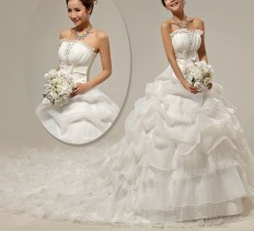 AU$177.79 - Fall Ruched Natural Backless Strapless Sleeveless Princess Chapel Train Modern Organza Wedding Dresses