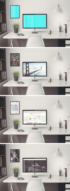 iMac Retina 5k Office MockUp | GraphicBurger