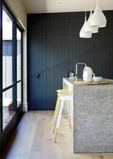 Black / dark blue kitchen, concrete worktops, wood flooring, island, bright stools | Jane Cameron Architects - desire to inspire - desiretoinspire… | Pinterest