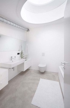 white bathroom with natural concrete floor | much love for everything modern | Pinterest