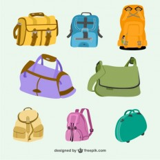 Bags and Backpacks Collection Free Vector | 123Freevectors