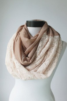 brown-ivory lace scarfinfinity scarf scarf by lumbaaccessories