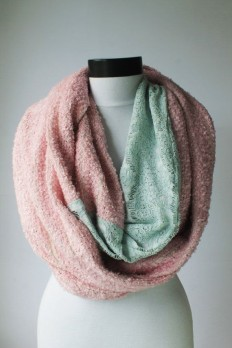 mint-pink winter scarfinfinity scarf scarf by lumbaaccessories