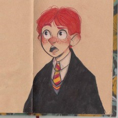 "Chabe Escalante on Instagram: ""Haha well I decided to draw Harry and Ron thanks to your comments on my Hermione drawing. #Inktober + Prismacolor ????"""