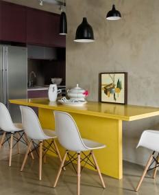 Loft Interior Design in Beige and Purple - InteriorZine