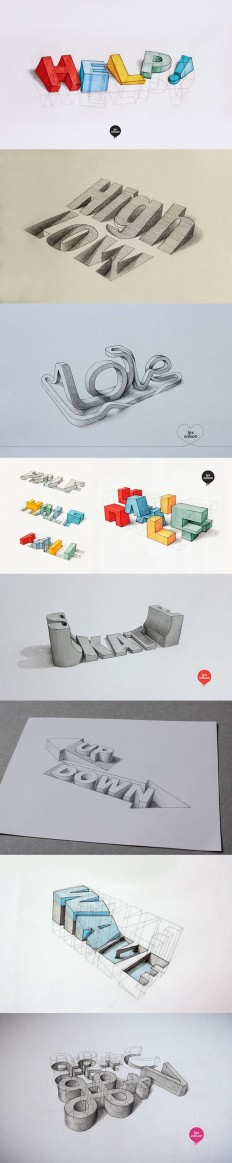 3D Typography by Lex Wilson | Drawing-Illustration-Sketch | Pinterest