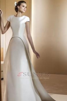 Robe de mariée Gradins Manche de T-shirt Satin Milieu Avec voile Poire - esun.fr