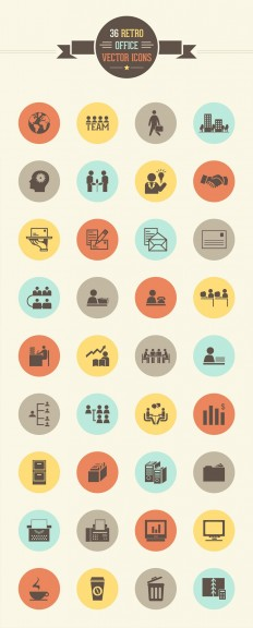 36 Retro Office Vector Icon Set » CSS Author