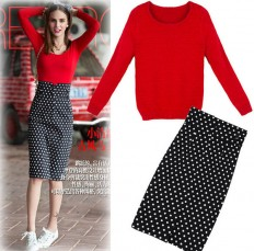 Women's Comfortable Red Knit Sweater Polka Dots Skirt Set – Shop with Hearts