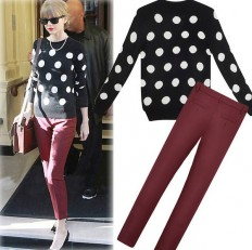 Women's Comfortable Polka Dots Knit Sweater with Pants – Shop with Hearts