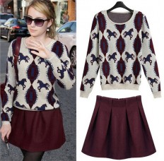 Women's Comfortable Ethnic Horse Sweater Skirt Set – Shop with Hearts