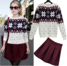Women's Comfortable Mohair Snowflake Sweater Skirt Set – Shop with Hearts