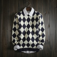 Casual Vintage Men's Comfortable Geometric Diamond Knitted Sweater – Shop with Hearts