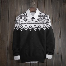 Casual Vintage Men's Comfortable FAIR ISLE Ethnic Knitted Sweater  – Shop with Hearts