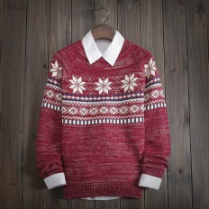 Men's Comfortable Soft Snowflake Geometric Knitted Sweater – Shop with Hearts