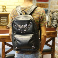 Men's Black Skull Studded Laptop Bag Leather Backpack Travel – Shop with Hearts