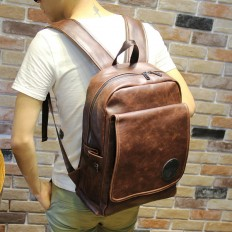 Vintage Men's Brown Laptop Bag Leather Backpack Travel – Shop with Hearts